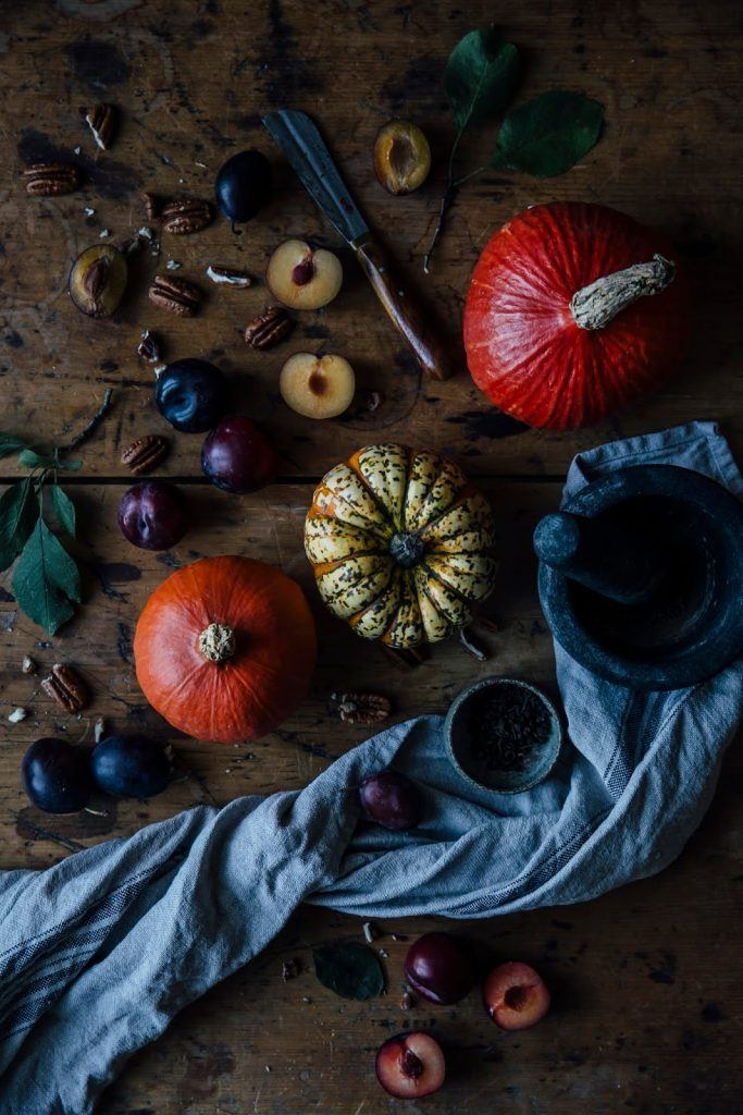 Image for Gluten-free Pumpkin Waffles with Plum-Rosemary Compote and Coconut Yoghurt