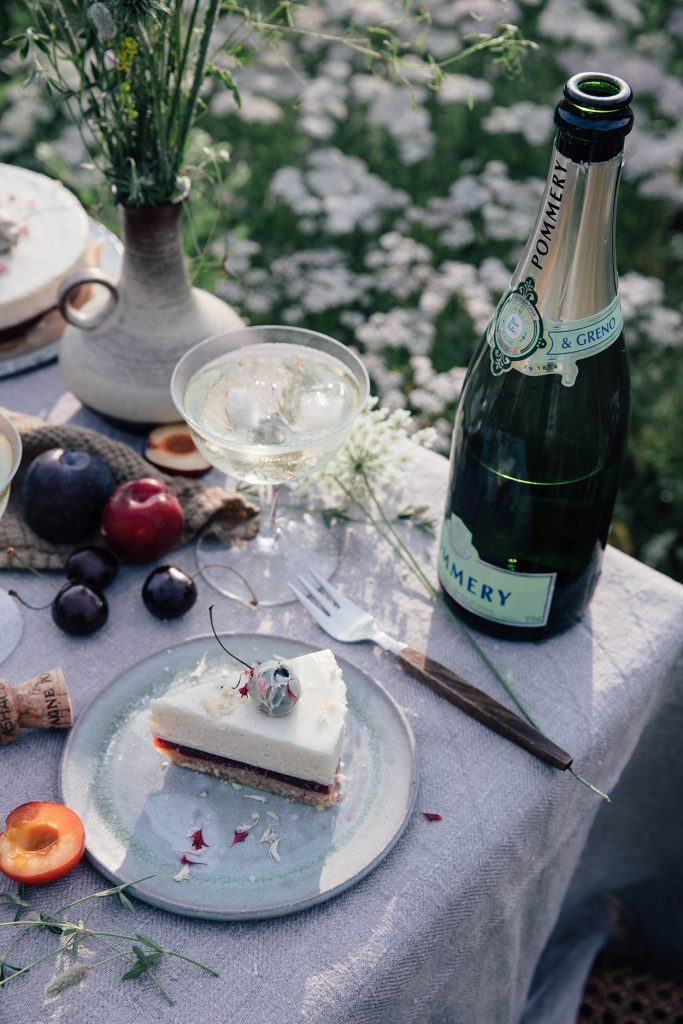 Gluten free cake and champagne