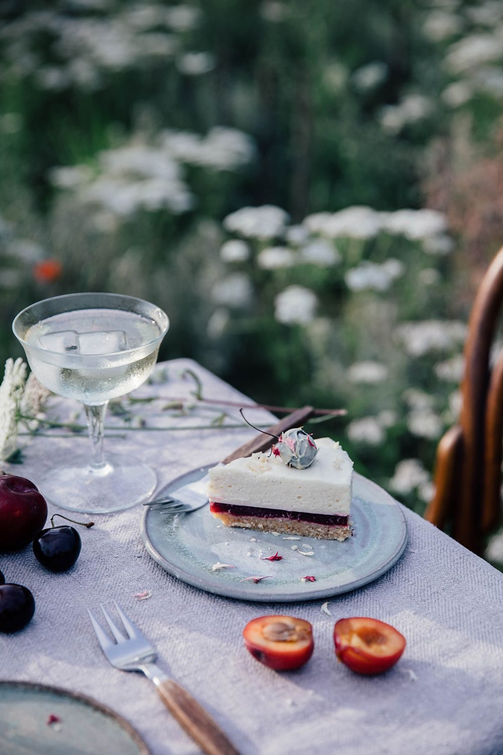Gluten-free white chocolate cake with cherry-plum jelly
