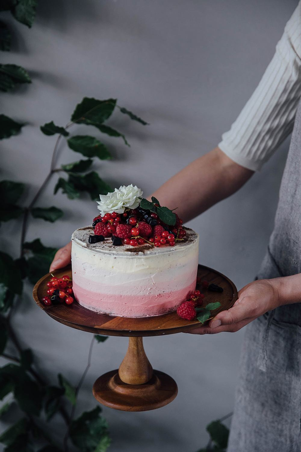 Raspberry Licorice Ombre Cake
