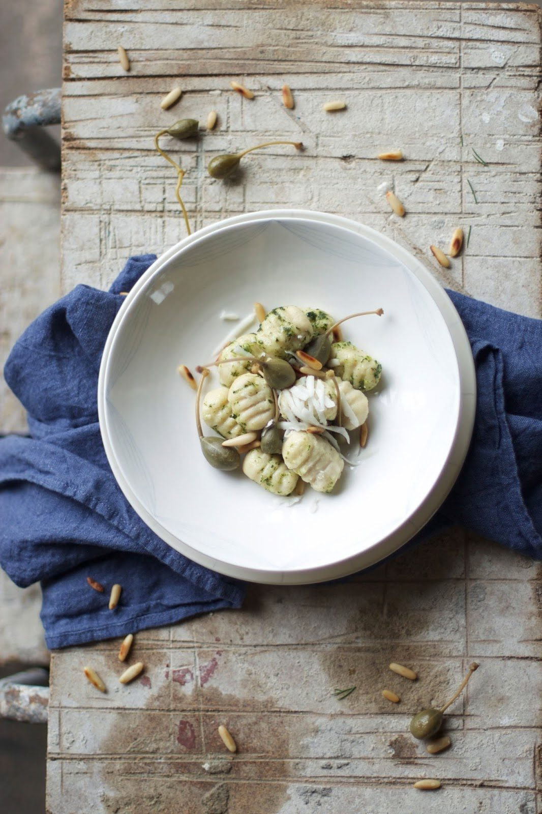 Gluten-free Gnocchi with Green Pesto and Capers
