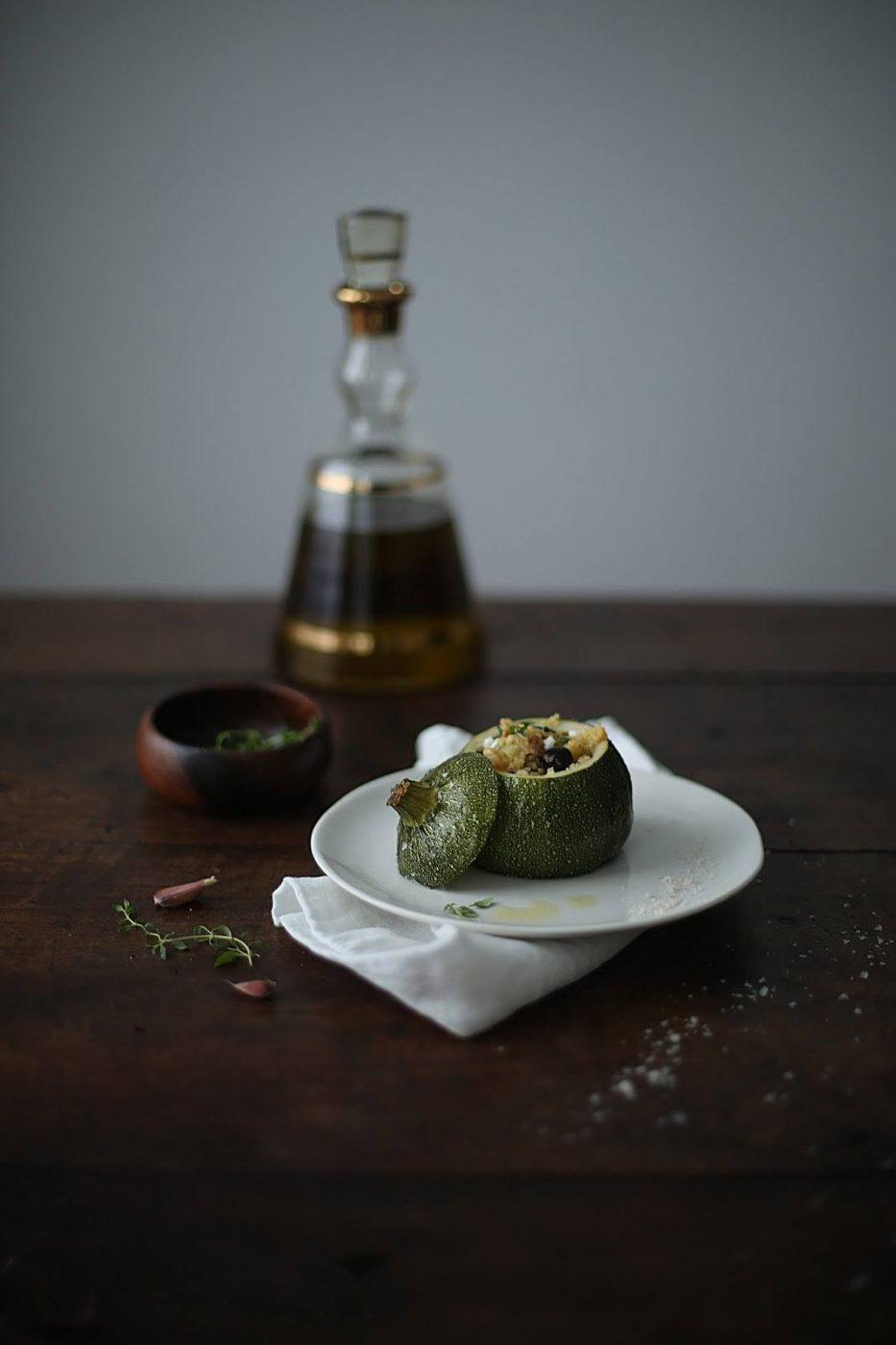 Image for Stuffed Eight Ball Zucchini with Millet, Olives and creamy Goat Cheese