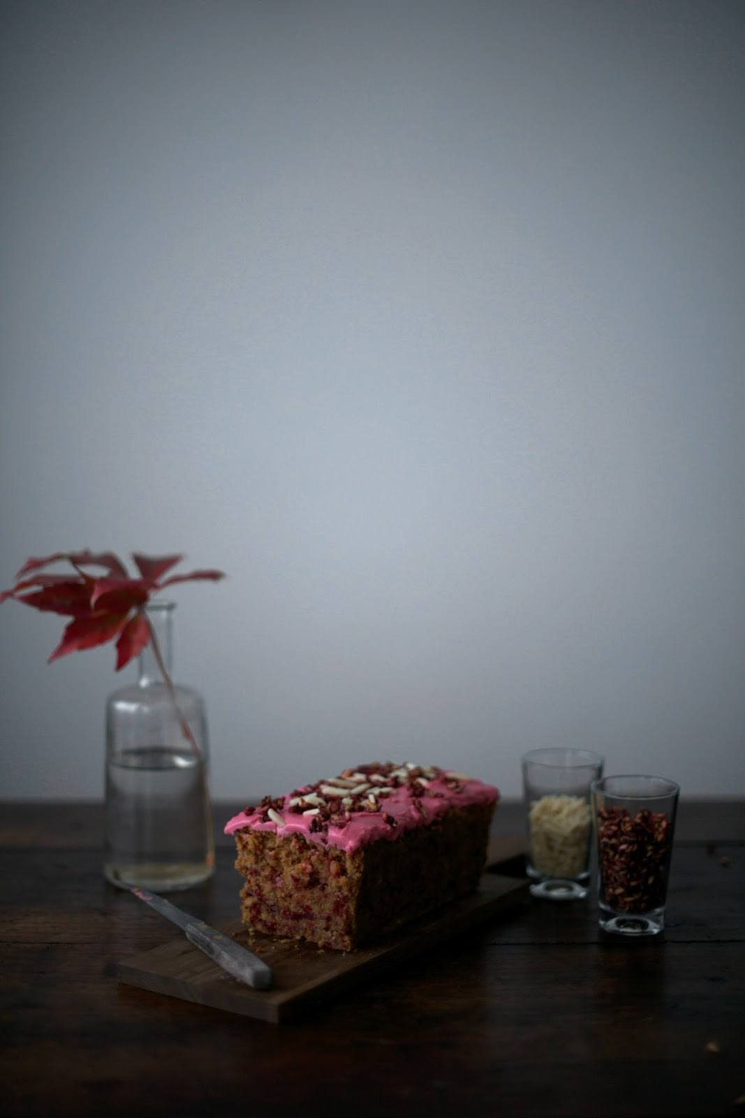 Gluten-free Beetroot Cake with Pomegranate Seeds and Almonds