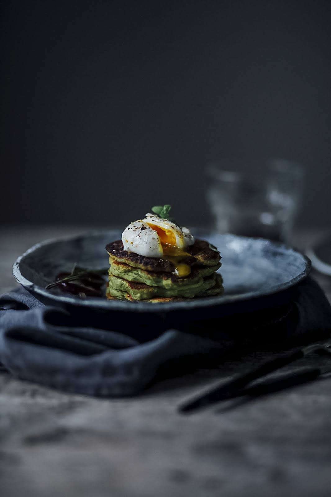 Gluten-free Avocado Pancakes with Poached Egg