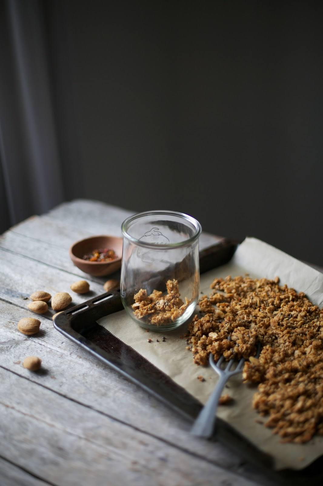 Gluten-free Granola with Almonds, Hempseeds and dried Physalis