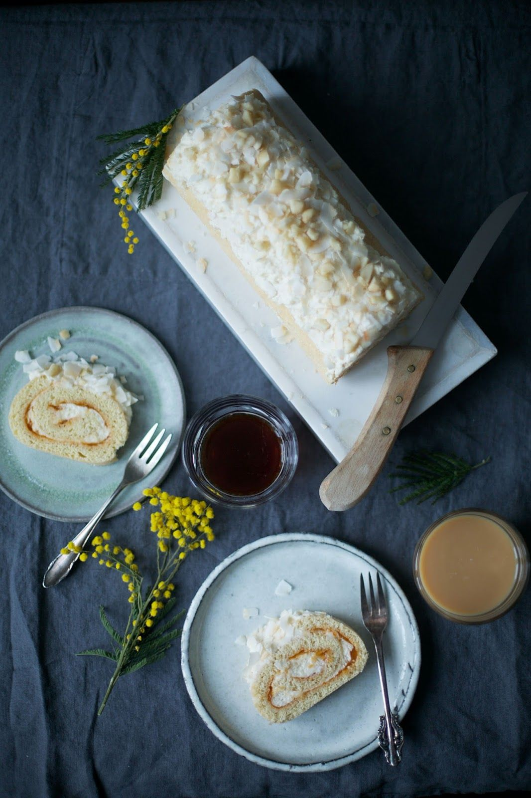 Gluten-free Macadamia-Apricot Swiss Roll with Coconut Flakes