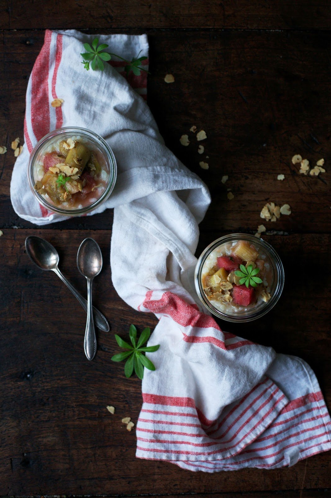 Goat-Rice Pudding with Rhubarb Compote, Earth Almond Flakes and a touch of Sweet Woodruff