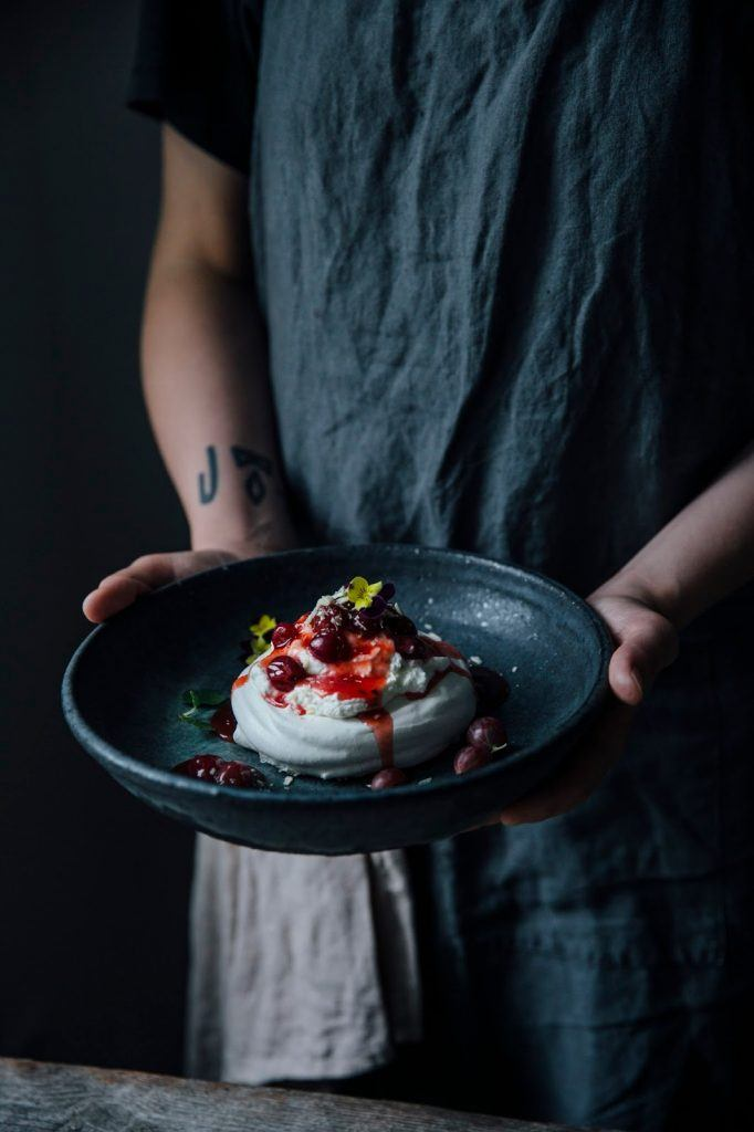 Image for Mini Pavlova's with Gooseberry Compote and Edible Flowers