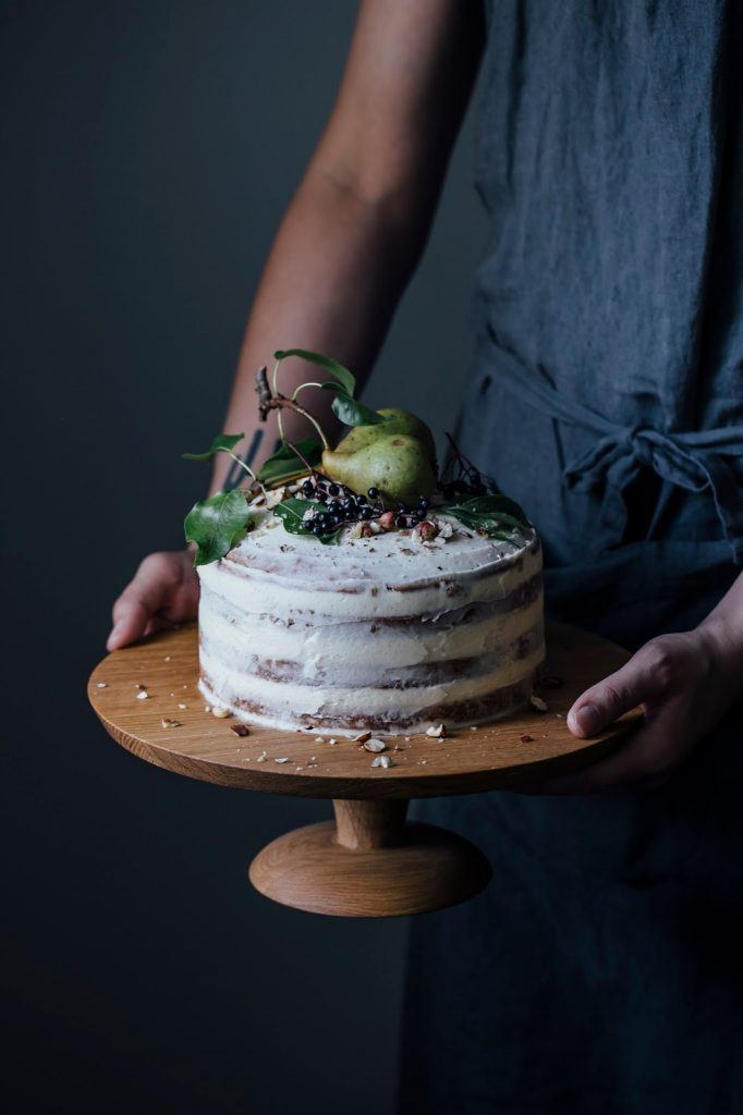 Image for We made a Cake Stand with Nutsandwoods & a gluten-free Elderberry-Pear-Hazelnut Cake