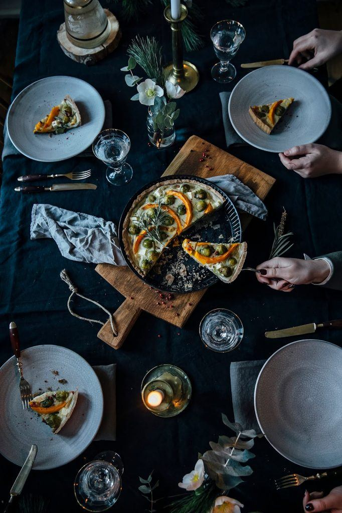 Image for A little Christmas Gathering: gluten-free Pumpkin-Brussel Sprouts Quiche and a Cinnamon Panna Cotta