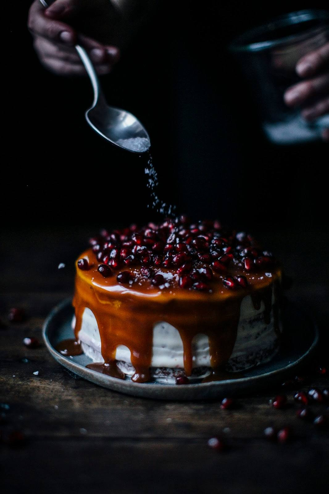 Gluten-free Banana-Pomegranate-Caramel Cake