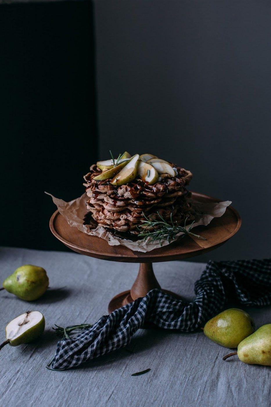 Image for Gluten-free Apple-Cinnamon Waffles with Pears and a Tea infused Rosmary – Coconut Sugar Syrup