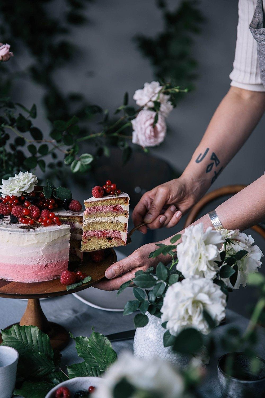 Gluten-free Raspberry Licorice Ombre Cake with Katjes