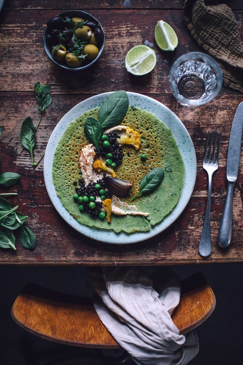 Image for Gluten-free Peas Basil Crêpes with Hummus, lentils and roasted cauliflower