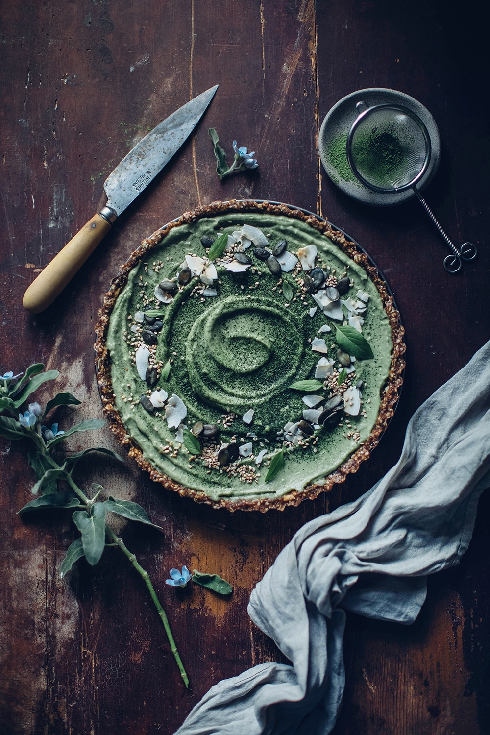 Gluten-free and Vegan Matcha-Coconut-Tart