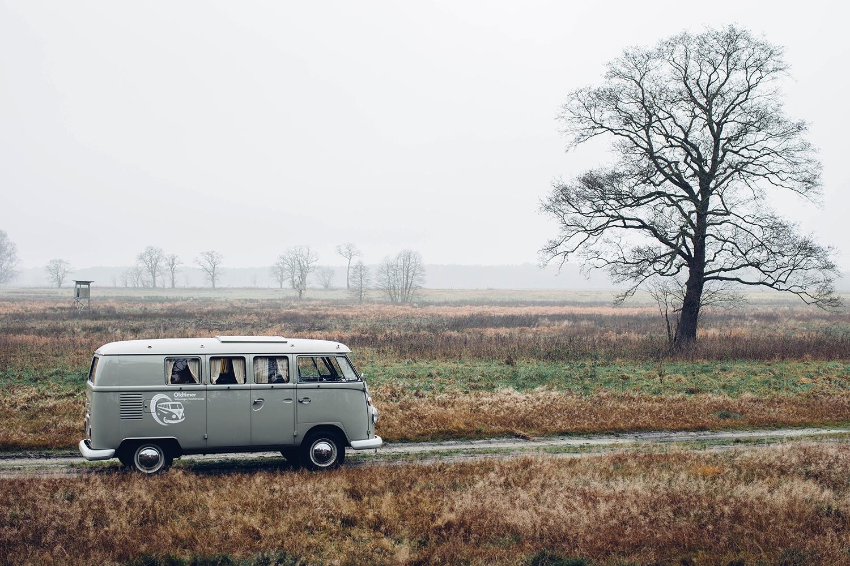 foggy landscape vintage car