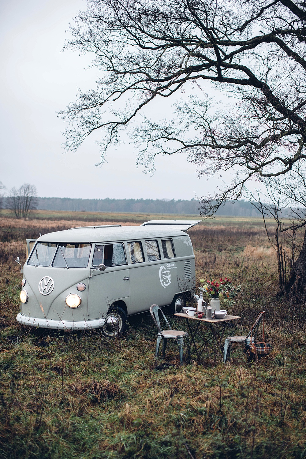 A foggy autumn day and a road trip with an old VW T1 bus