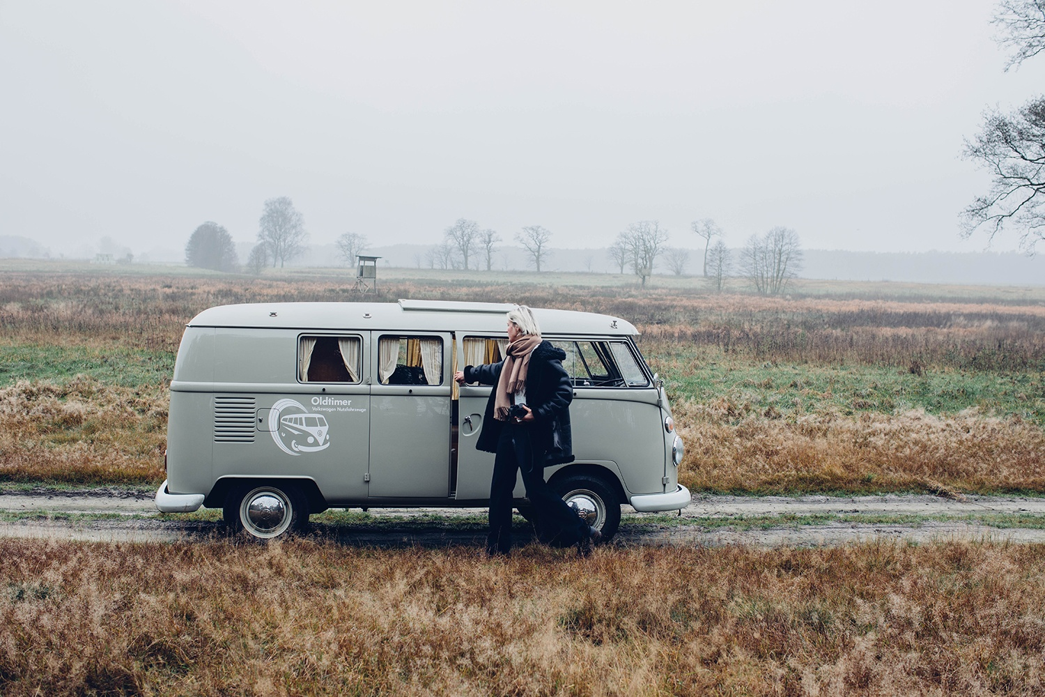 A foogy autumn day on the road with an old VW bus T1