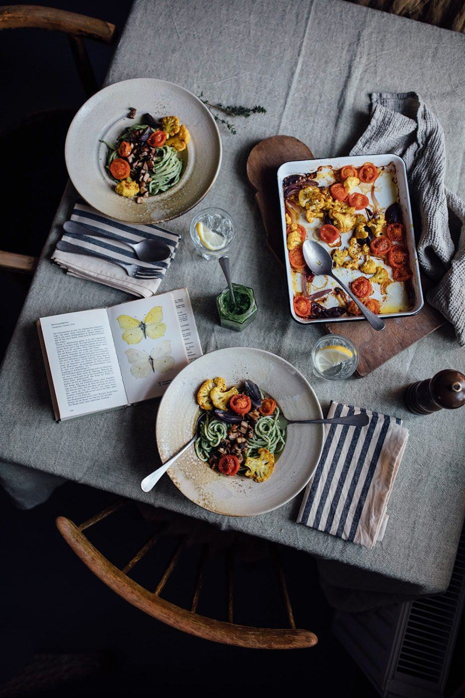 Image for Gluten-free Pasta with vegan Spinach Pesto and oven-roasted Vegetables