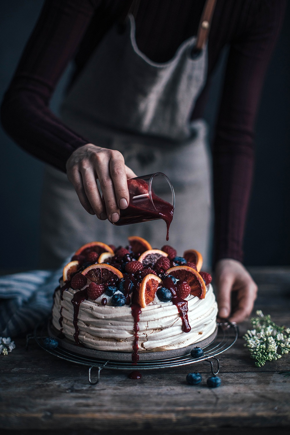 Easy & delicious Blood Orange-Berry Pavlova with Berry Sauce