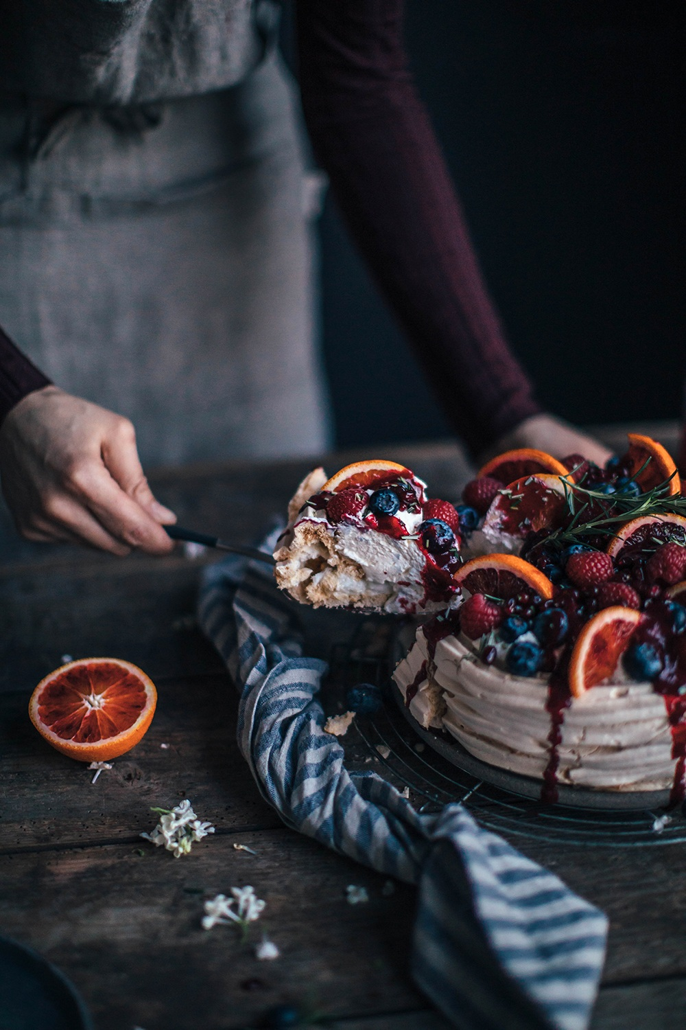 blood orange pavlova with berry sauce