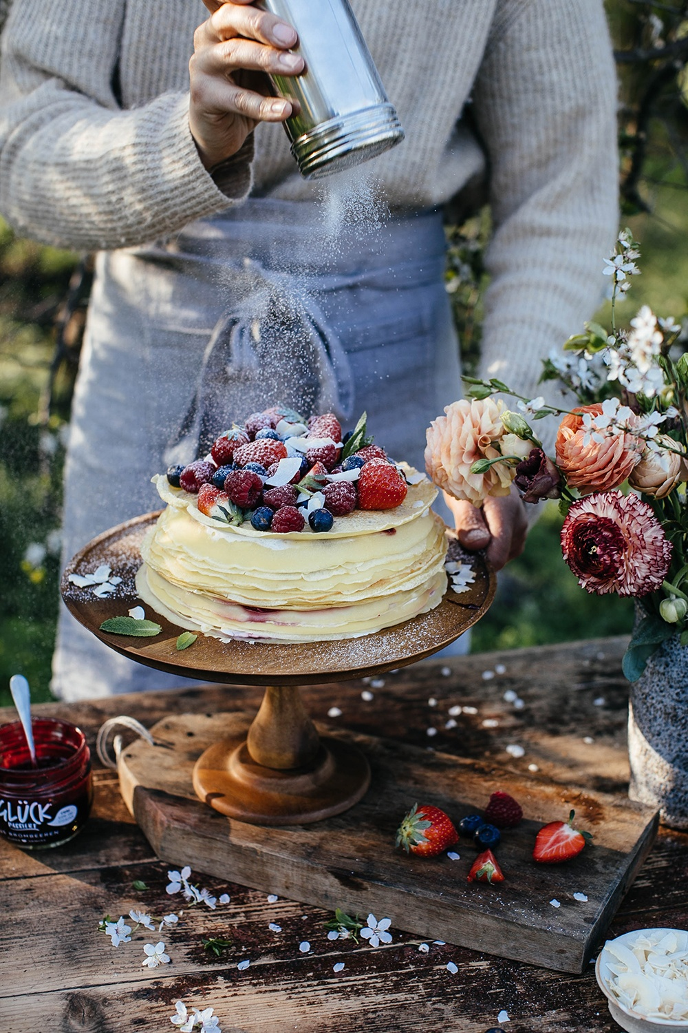 Gluten-free Crêpe Cake with Cream Cheese and Raspberry Jam