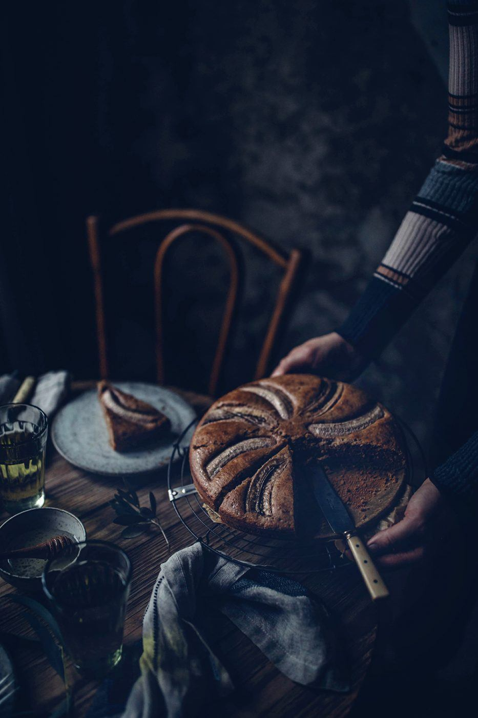 gluten-free banana hazlenut cake