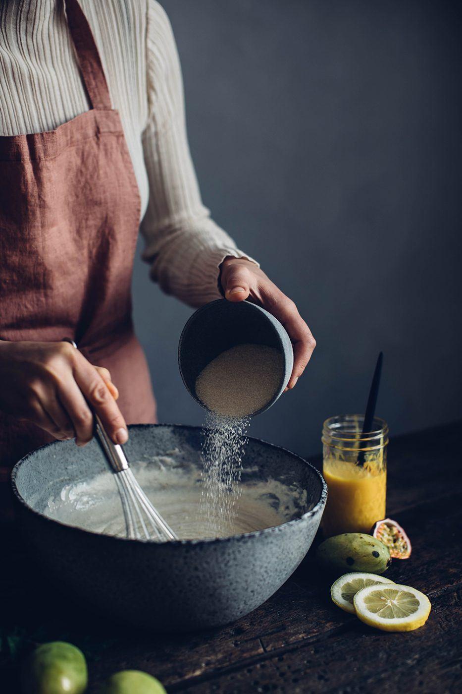 Gluten-free mango passionfruit cheesecake
