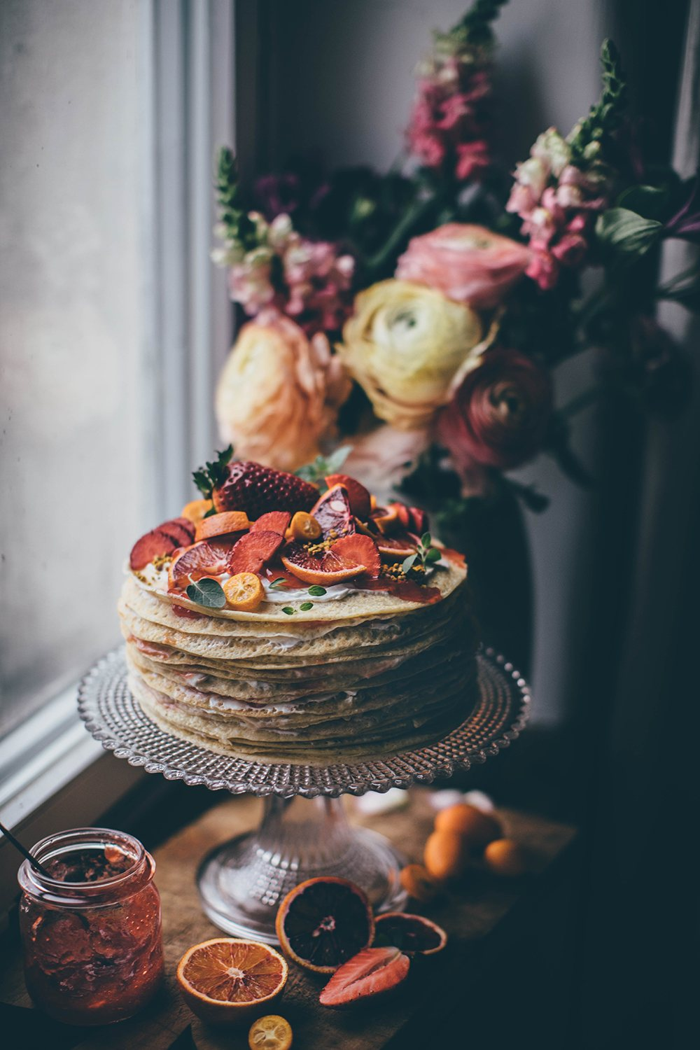 gluten-free blood orange crêpe cake with jelly