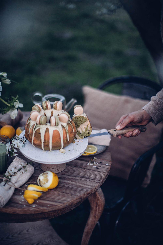 gluten-free matcha bundt cake with macarons recipe