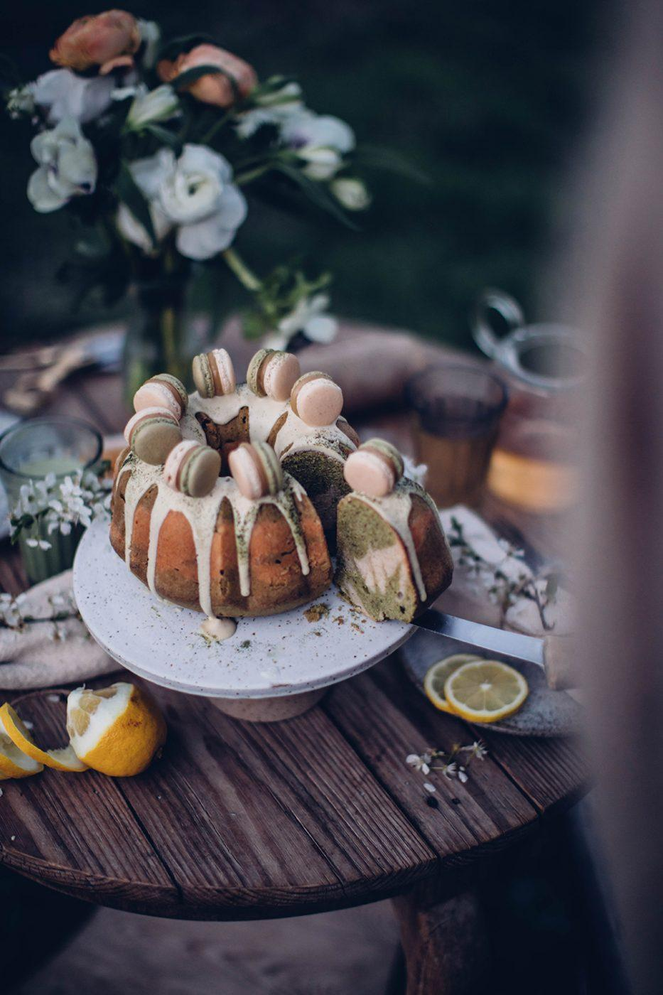 gluten-free matcha bundt cake with macarons recipe