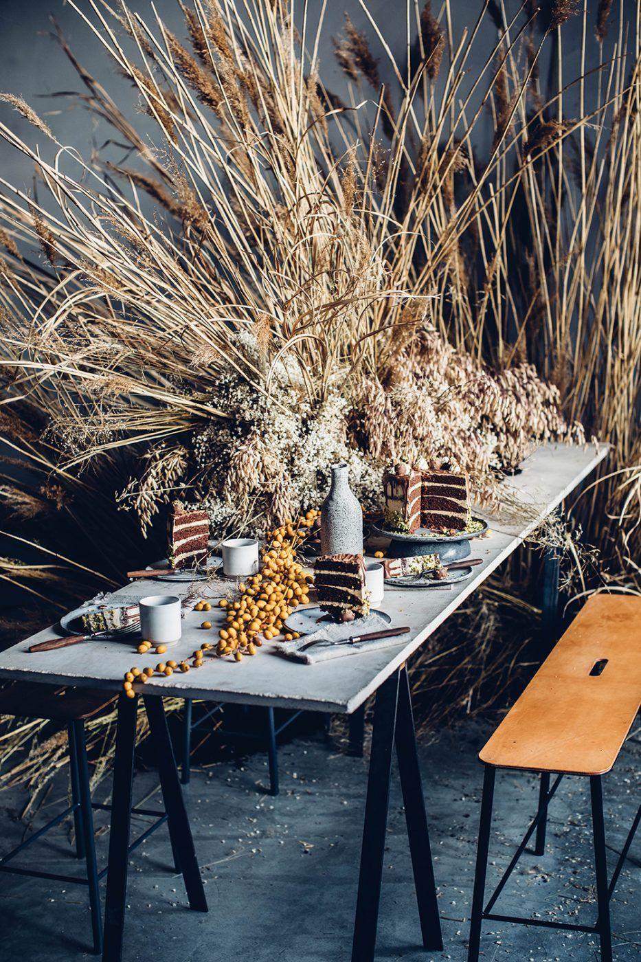 dried grass installation