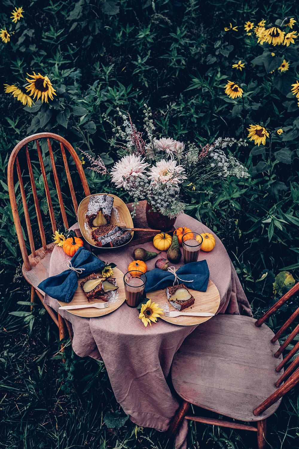 Autumn Picnic in a Sunflower Field