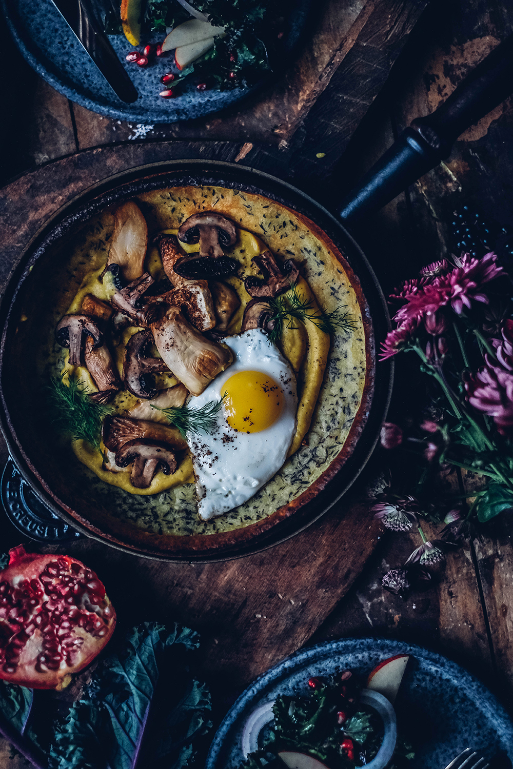 Gluten-free Dutch Baby with Mushrooms and Curry Hummus