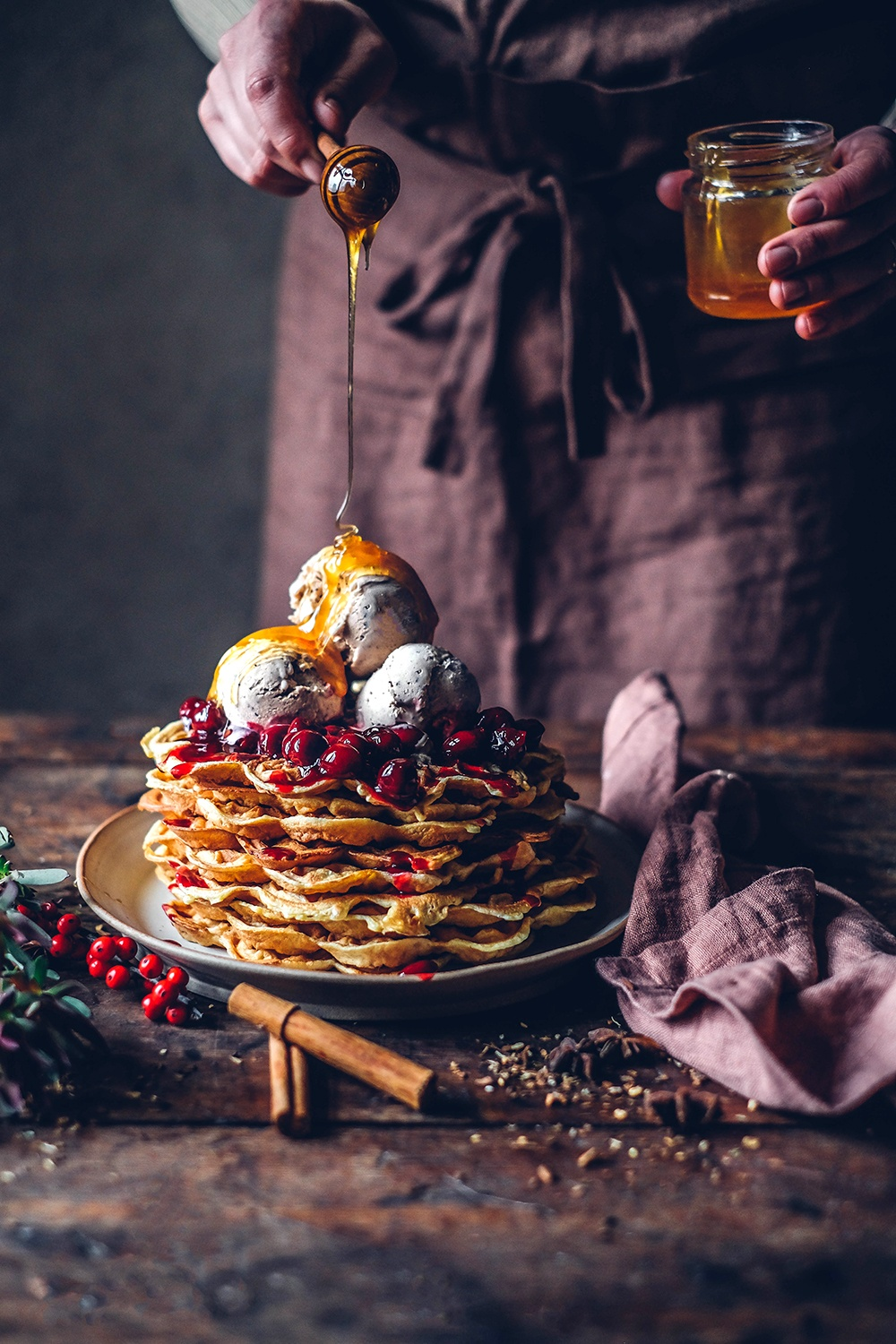 Gluten-free Waffles with Chai Ice-Cream and Cherry Compote