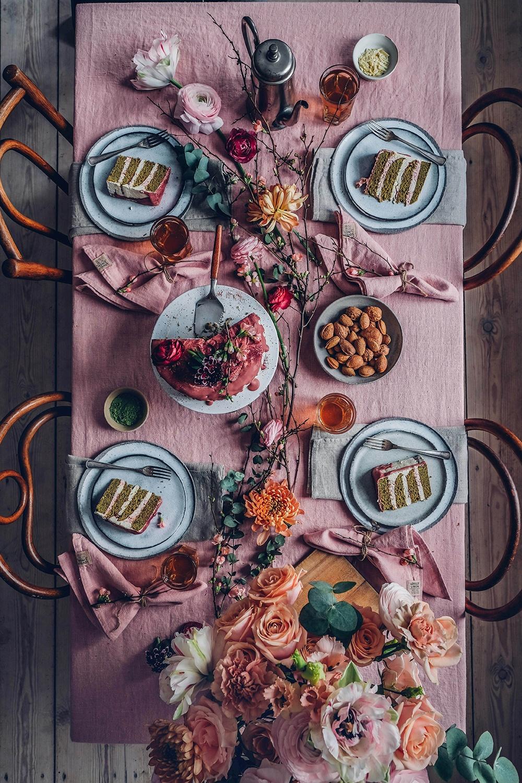 Gluten-free Matcha-Cake with Swiss Meringue Raspberry-Buttercream