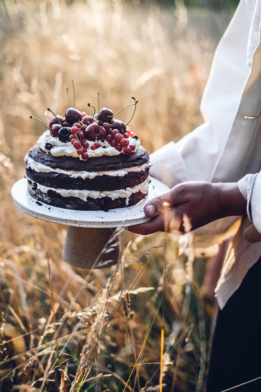 Gluten-free Chocolate-Cherry Cake with Berries